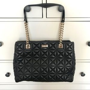 Kate Spade Black Leather Quilted Chain Handbag